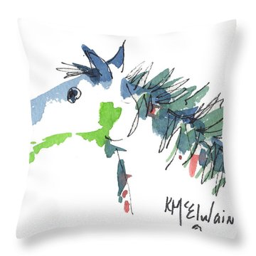 A Blue Roan Horse Watercolor Painting By Kmcelwaine Throw Pillow