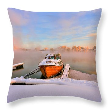 Boat On Frozen Lake Throw Pillow