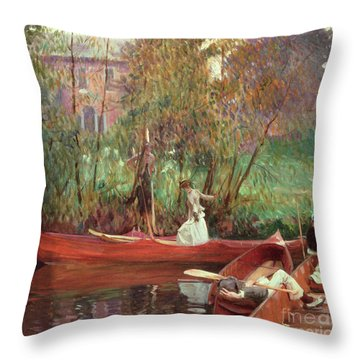 A Boating Party  Throw Pillow by John Singer Sargent