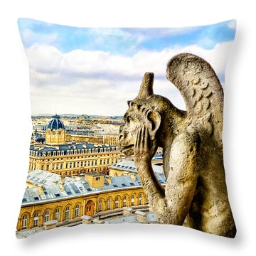 A Bored Gargoyle Sees Paris Throw Pillow by Mark E Tisdale