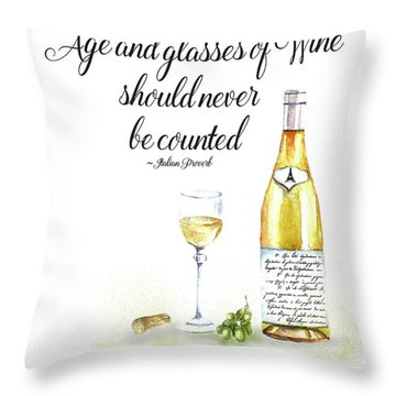 Throw Pillow featuring the digital art A Bottle Of White Wine by Colleen Taylor