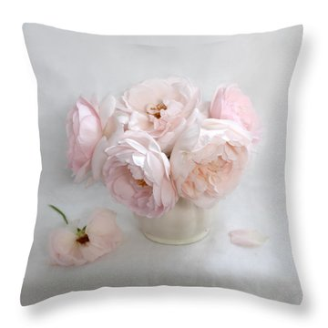 A Bouquet Of June Roses #2 Throw Pillow by Louise Kumpf