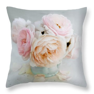 A Bouquet Of June Roses Throw Pillow by Louise Kumpf