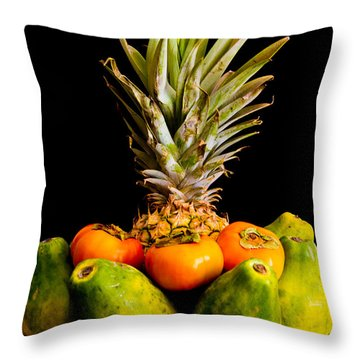 A Bowl Of Hawaiian Fruit Throw Pillow by Roger Mullenhour