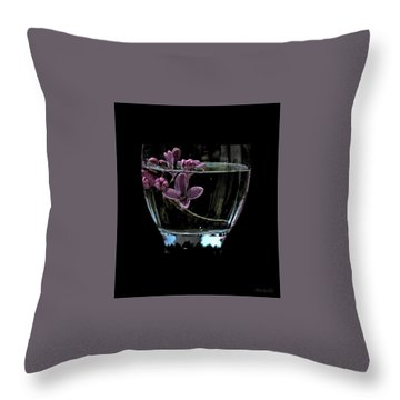 A Bowl Of Lilacs Throw Pillow by Marija Djedovic