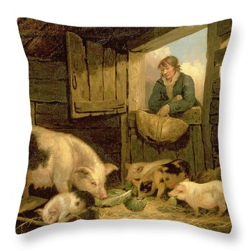 A Boy Looking Into A Pig Sty Throw Pillow by George Morland
