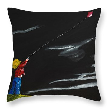 Throw Pillow featuring the painting A Braw Night For Flight by Scott Wilmot