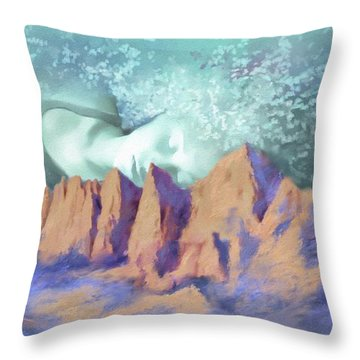 Throw Pillow featuring the painting A Breath Of Tranquility by S G