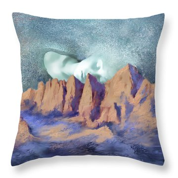 Throw Pillow featuring the painting A Breath Of Tranquility by Sgn