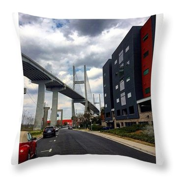A Bridge And A Cloudy Sky Throw Pillow by Janel Cortez