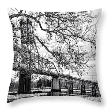 A Bridge In Winter Throw Pillow by Olivier Le Queinec