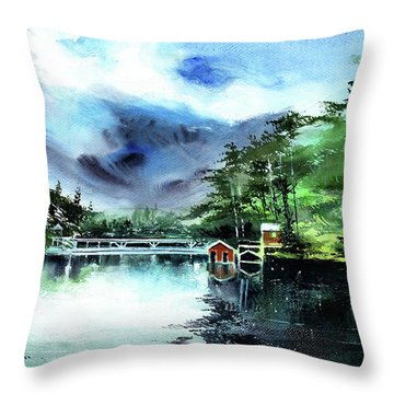 Throw Pillow featuring the painting A Bridge Not Too Far by Anil Nene