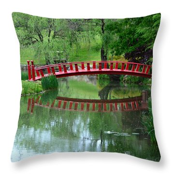 A Bridge Reflection Throw Pillow by Kathleen Stephens