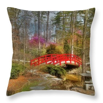 A Bridge To Spring Throw Pillow by Benanne Stiens