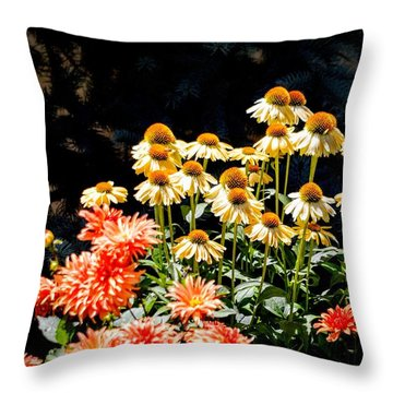 A Bright Flower Patch Throw Pillow by AJ  Schibig