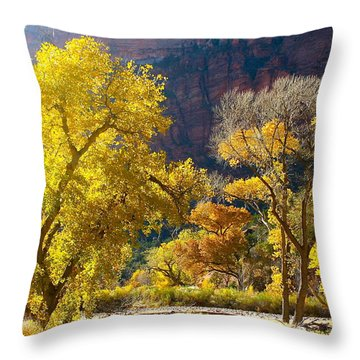 A Bright Gathering Of Trees Throw Pillow