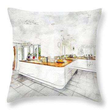 A Bright White Kitchen Throw Pillow