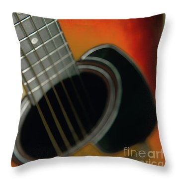 Throw Pillow featuring the photograph  Guitar  Acoustic Close Up by Bruce Stanfield