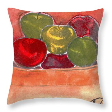 A Bucket Full Of Apples Throw Pillow by Saad Hasnain
