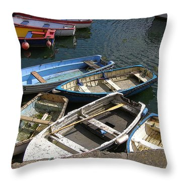 a Bunch of Boats Throw Pillow