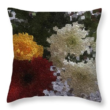 A Bunch Of Flowers In A Woolen Texture Throw Pillow