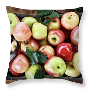 Throw Pillow featuring the photograph A Bushel Of Apples  by Stephanie Frey