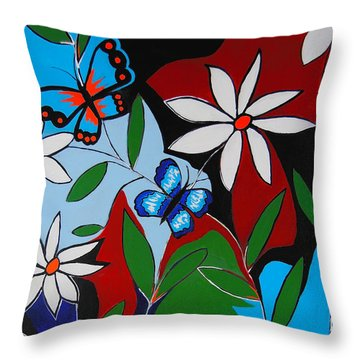 Throw Pillow featuring the painting A Butterflies Paradise by Kathleen Sartoris