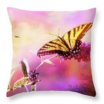 A Butterfly Good Morning Throw Pillow