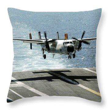 A C-2a Greyhound Prepares To Land Throw Pillow