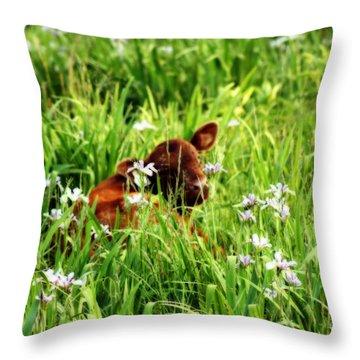 A Calf's Perfect Haven  Throw Pillow