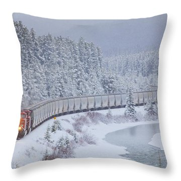 A Canadian Pacific Train Travels Along Throw Pillow
