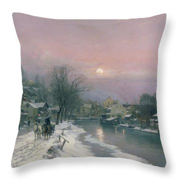 A Canal Scene In Winter  Throw Pillow by Anders Anderson Lundby