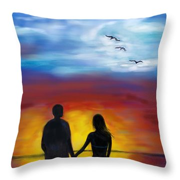 Throw Pillow featuring the painting A Captivating Love by Leslie Allen