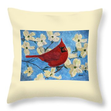 A Cardinal Spring Throw Pillow