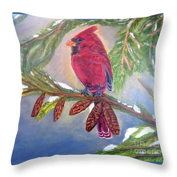 Throw Pillow featuring the painting A Cardinal's Sweet And Savory Song Of Winter Thawing Painting by Kimberlee Baxter