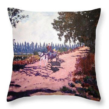 Throw Pillow featuring the painting A Carriage And A Horse by Ray Khalife