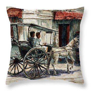 A Carriage On Crisologo Street Throw Pillow
