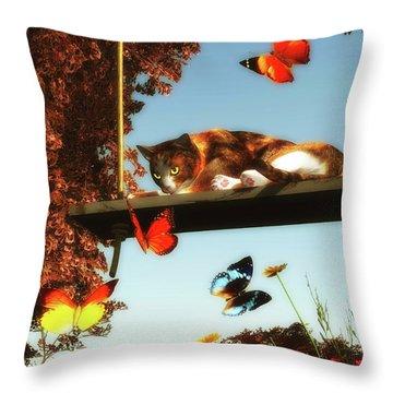 A Cat Looks At The Butterflies Throw Pillow