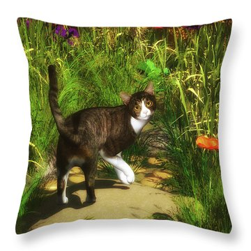 A Cat Turns Around Throw Pillow