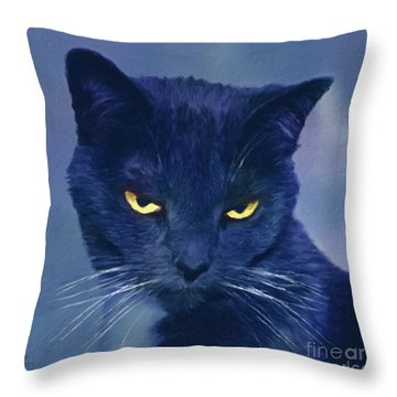 A Cat's Dark Night Throw Pillow