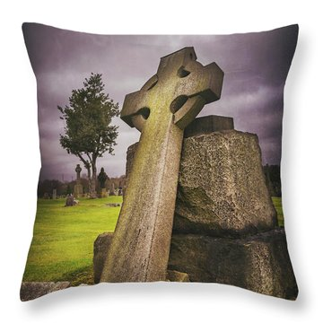 Throw Pillow featuring the photograph A Celtic Cross In Glasgow Scotland by Carol Japp