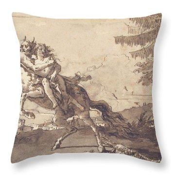 A Centaur Abducting A Nymph Throw Pillow
