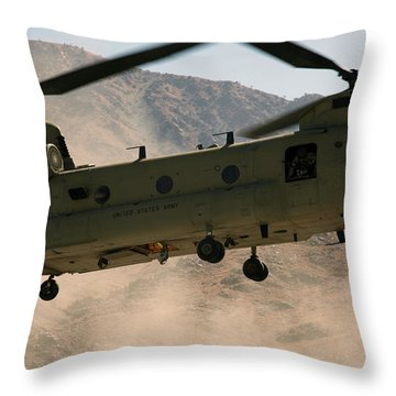 A Ch-47 Chinook Helicopter Kicks Throw Pillow by Stocktrek Images