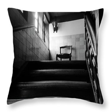 A Chair At The Top Of The Stairway Bw Throw Pillow by RicardMN Photography