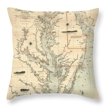 A Chart Of The Chesapeake And Delaware Bays 1862 Throw Pillow