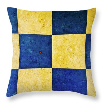 A Checkered Murder In Blue And Yellow Throw Pillow