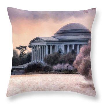 Throw Pillow featuring the digital art A Cherry Blossom Dawn by Lois Bryan