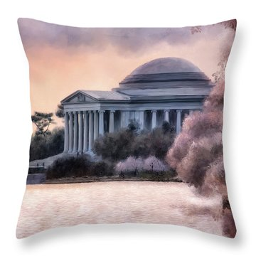 A Cherry Blossom Dawn Throw Pillow by Lois Bryan