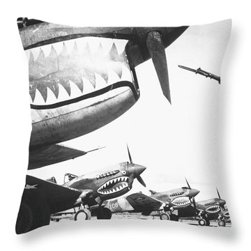 A Chinese Soldier Guards A Line Throw Pillow by Stocktrek Images