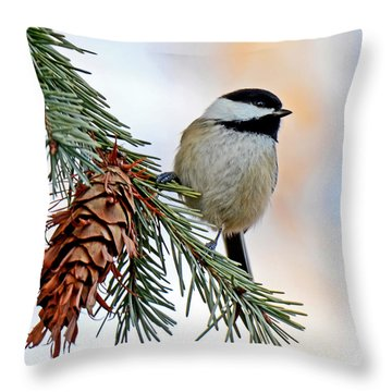 Throw Pillow featuring the photograph A Christmas Chickadee by Rodney Campbell